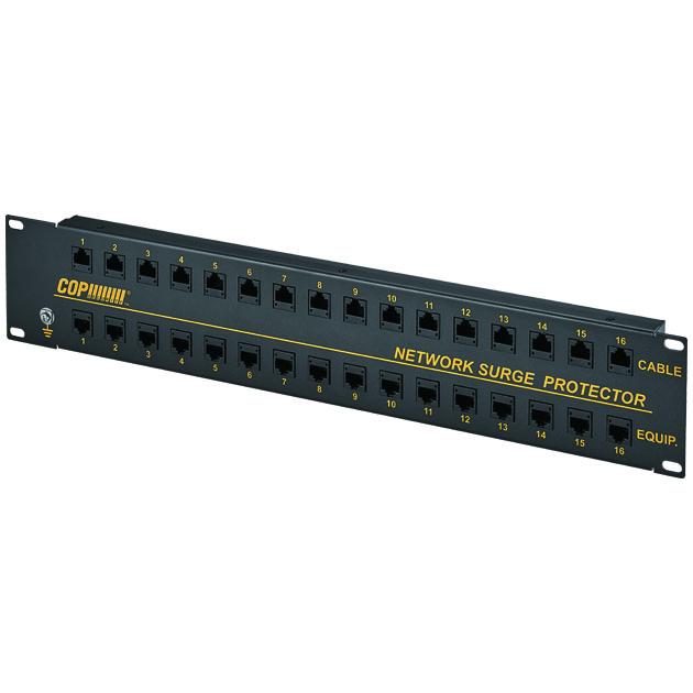 16 Ports 10/100 Mbps PoE LAN Surge Protector, 6KV 1